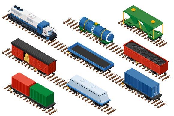 Isometric Set Of Railway Trains