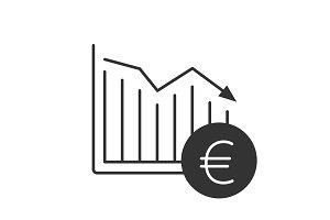 Euro falling glyph icon