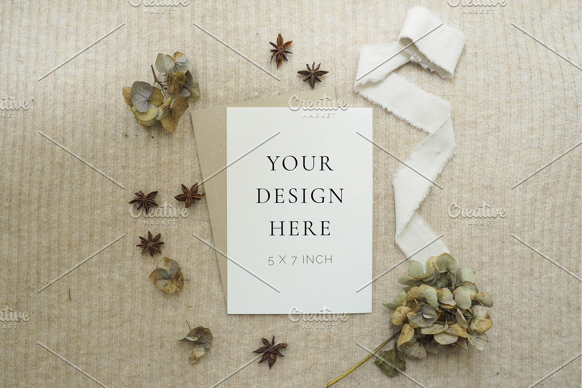 Fall Floral Mockup in Templates