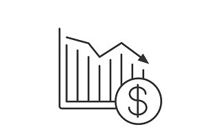 Dollar falling linear icon
