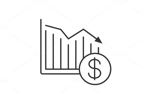 Dollar falling linear icon