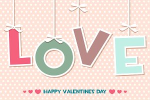 word LOVE, set Happy Valentines day greeting cards