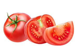 Cut tomatoes isolated