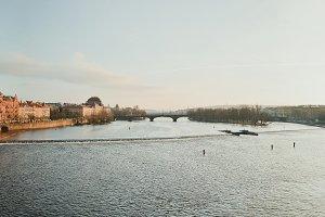 Panoramic View of bridge in Prague