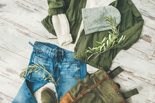 Beauty & Fashion Stock Photos - Flat-lay of Fall lady' s outfit on parquet, square crop