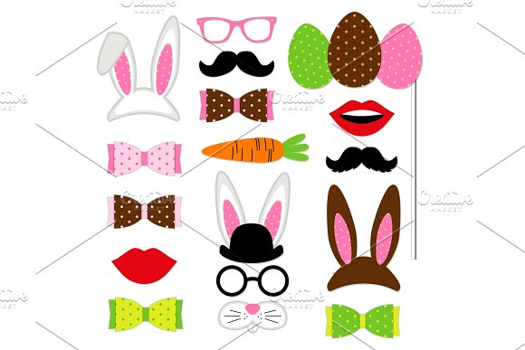 Cute Easter photo booth props as set of party graphic elements of easter bunny costume as mask, ears, eggs, carrot etc