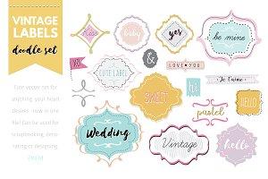 Doodle labels vector set