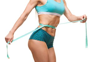 Perfect Body Prepared For Summer White Background And Tape Measure.
