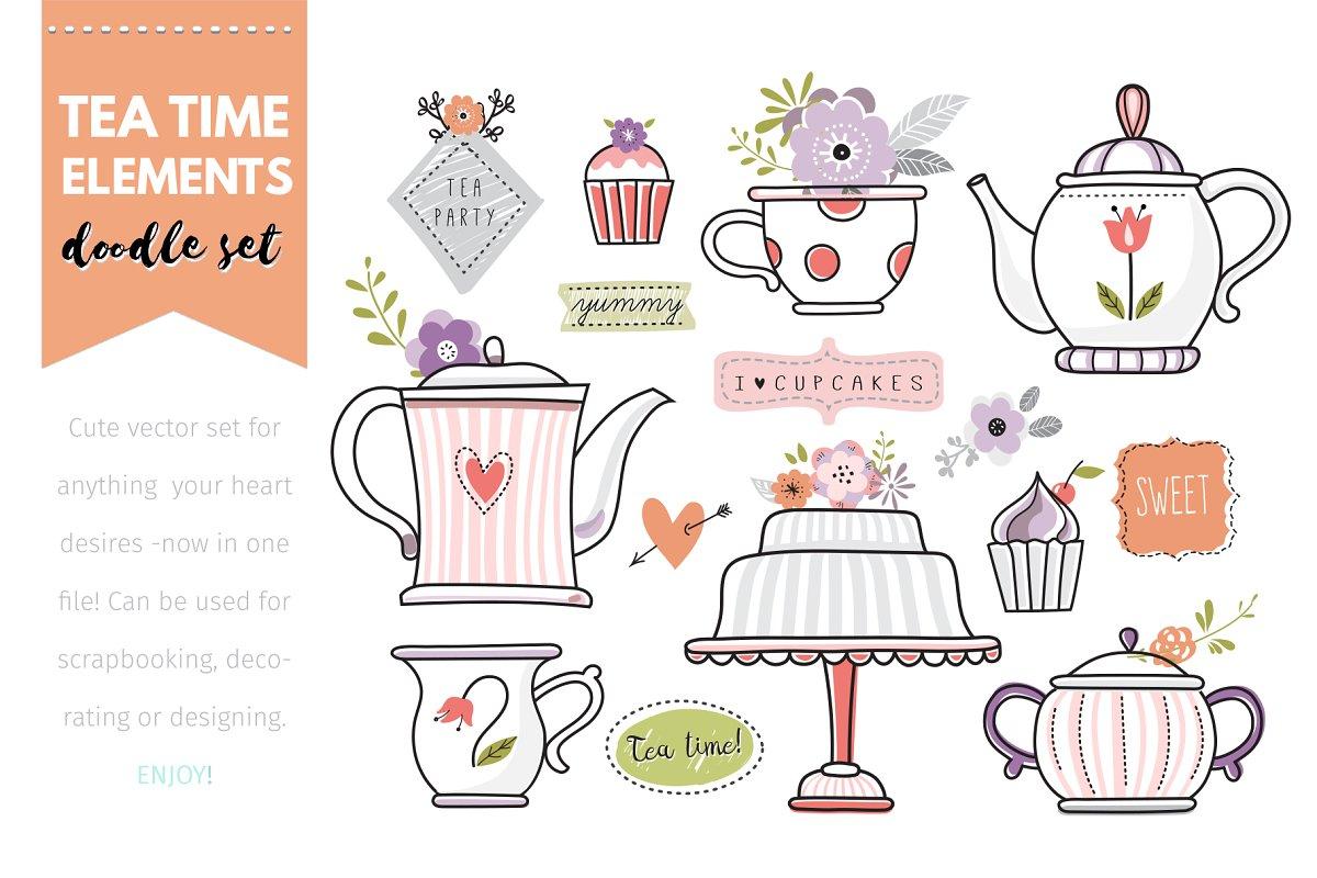 'Doodle Tea Time' vector elements