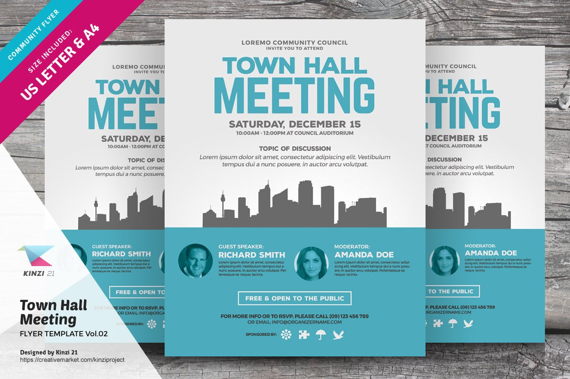 town hall meeting flyer vol 02 flyer templates creative market