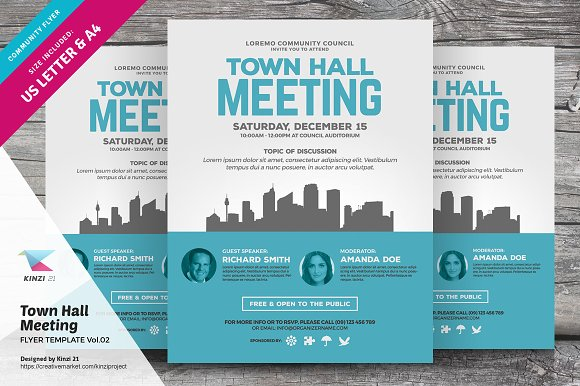 Town Hall Meeting Flyer Vol02 Flyer Templates Creative Market