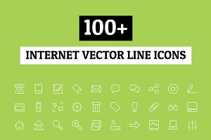 100+ Internet Vector Line Icons