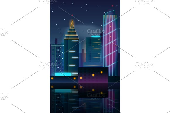 Big city night landscape with skyscrapers.