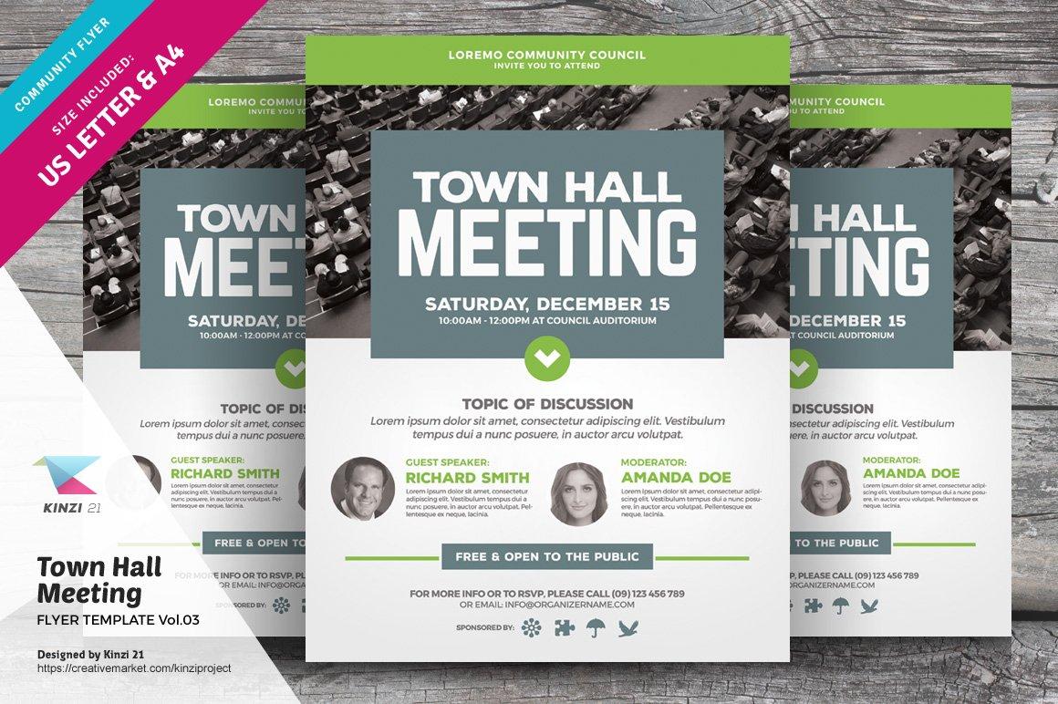 Town Hall Meeting Flyer Vol03 Flyer Templates Creative Market