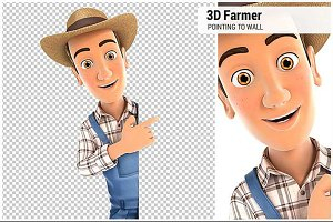 3D Farmer Pointing to Right Wall