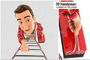 3D Handyman Climbing Up the Ladder