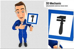 3D Mechanic Breakdown Service Sign