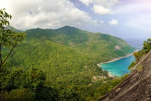 picturesque view of the island at the high. panoramic scene