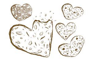 Cookies heart shape sketch