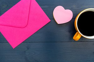 Pink love heart letter envelope