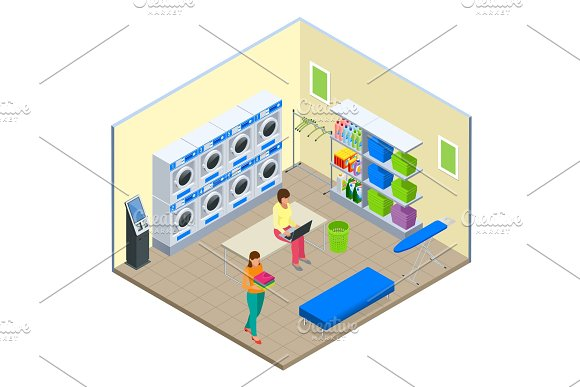 Laundry service and dry cleaning concept. Row of industrial laundry machines in laundromat. Iron, ironing board and laundry basketf. Flat isometric style vector illustration