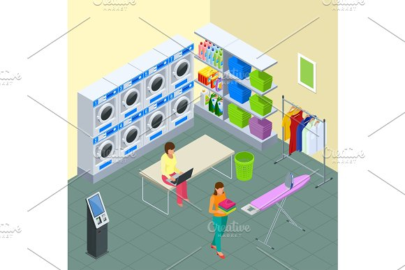 Laundry service and dry cleaning concept. Row of industrial laundry machines in laundromat. Iron, ironing board and laundry basketf. Flat style isometric vector illustration
