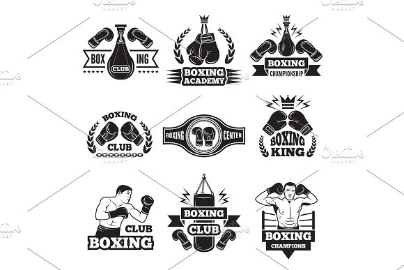 Monochrome Labels Set For Boxing Championship Illustration Of Gloves And Boxer