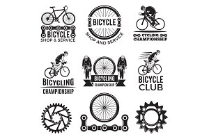 Labels set for biking club. Illustrations of freeride bicycles