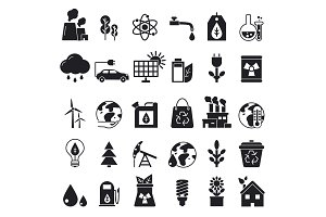 Monochrome icons set of ecology. Vector pictures