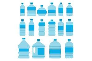 Illustrations of empty plastic bottles in flat style