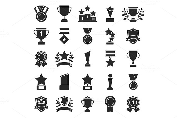 Monochrome pictures set of winner cups and sport trophies