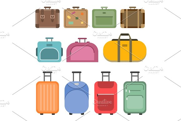 Different Handle Bags And Travel Suitcases Pictures In Flat Style