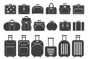 Vector monochrome pictures of suitcases and handbags