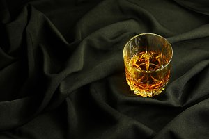 Whisky on black cloth