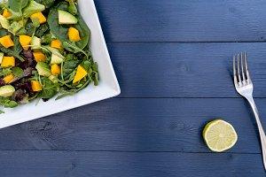 Mango avocado salad fork