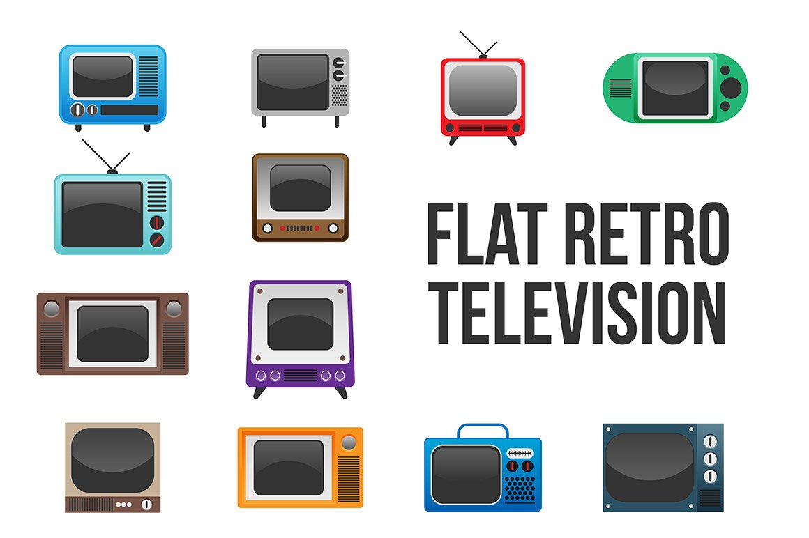 retro televisions graphic objects creative market