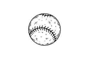 Baseball equipment engraving vector illustration