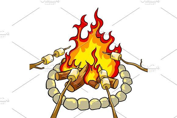 Marshmallow on bonfire pop art vector illustration