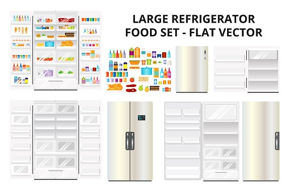 Refrigerator and Food Set in Objects