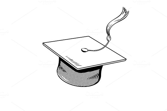 Square academic cap coloring book vector in Objects