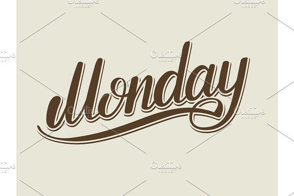 Monday hand lettering vector illustration