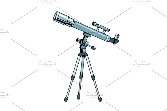Telescope object pop art vector illustration