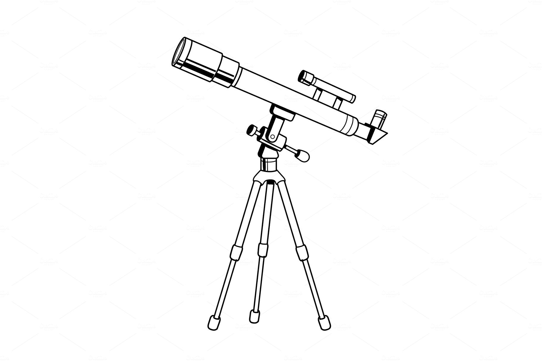 Download Telescope object coloring book vector ~ Graphic Objects ~ Creative Market
