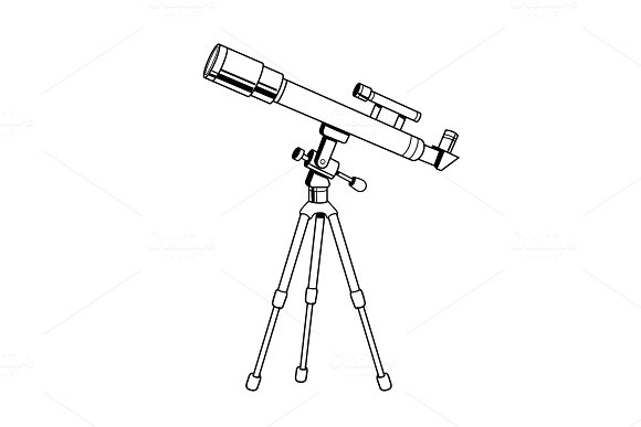 Telescope object coloring book vector in Objects