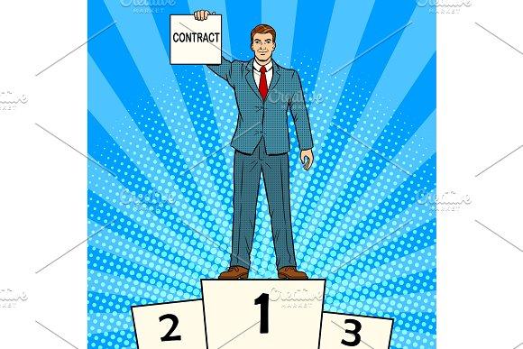 Businessman with contract pop art vector