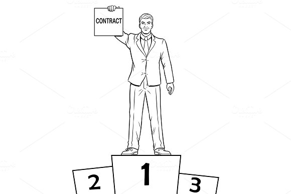 Businessman with contract coloring book vector in Illustrations