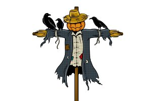 Scarecrow pop art vector illustration