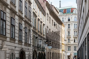 Steindlegasse street Vienna. Vienna is one of the most prosperou