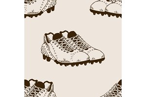 Football equipment seamless pattern engraving