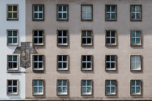 Facade of old residential building in Vienna
